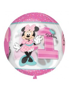 BALÃO ORBZ MINNIE 1ST BIRTHDAY